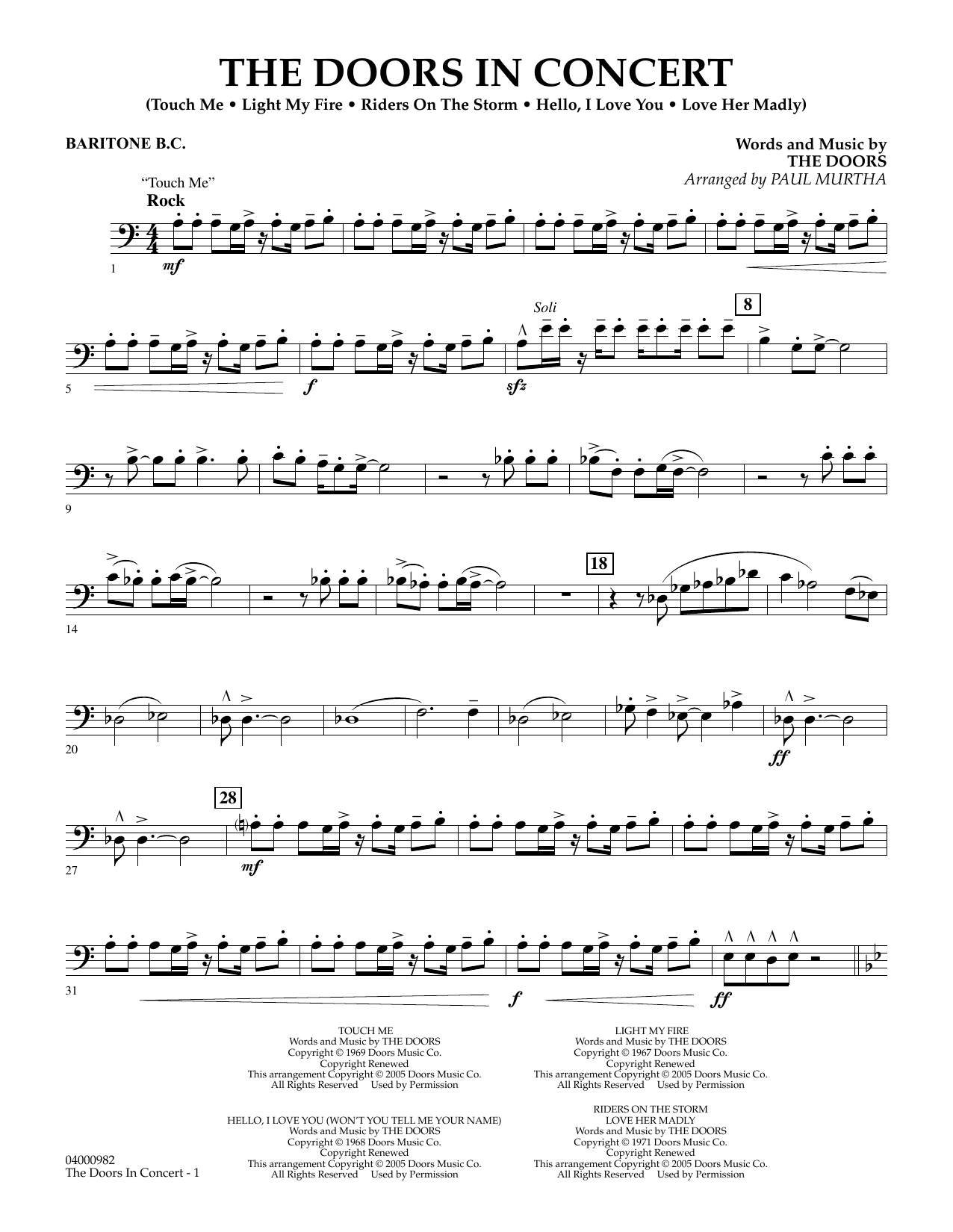 The Doors The Doors in Concert (arr. Paul Murtha) - Baritone B.C. sheet music notes and chords. Download Printable PDF.