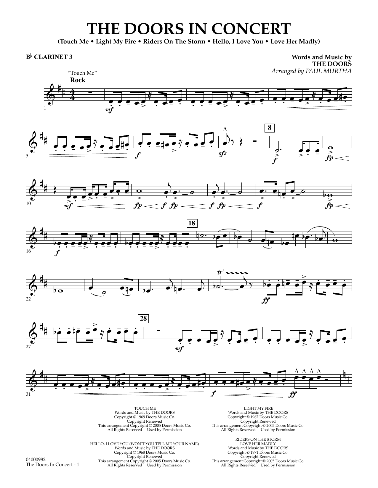 The Doors The Doors in Concert (arr. Paul Murtha) - Bb Clarinet 3 sheet music notes and chords. Download Printable PDF.