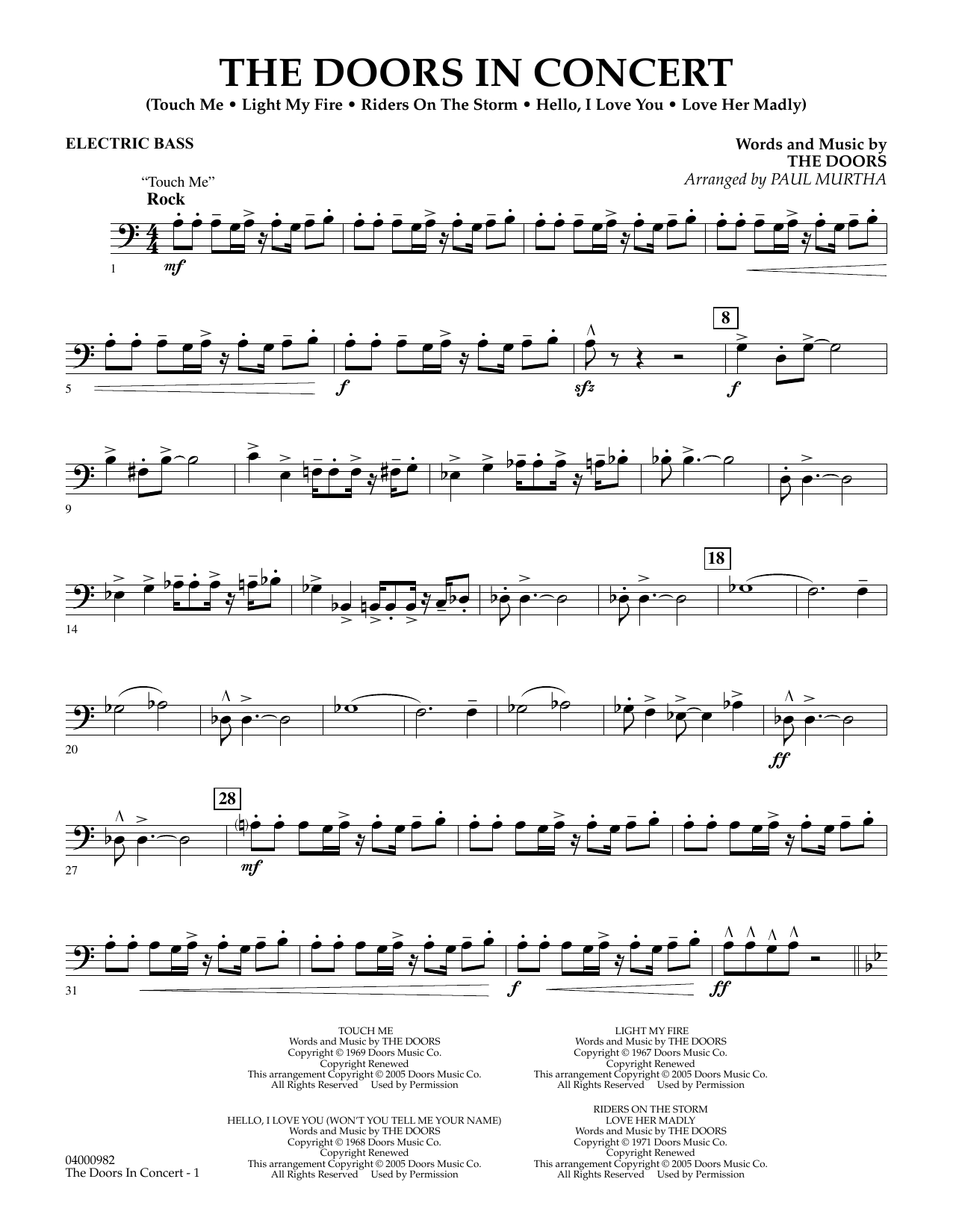 The Doors The Doors in Concert (arr. Paul Murtha) - Electric Bass sheet music notes and chords. Download Printable PDF.