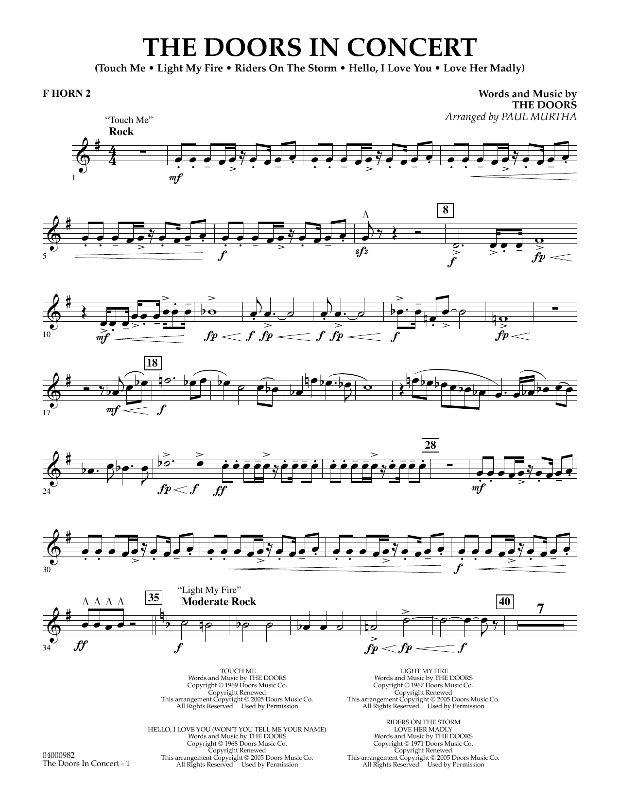 The Doors The Doors in Concert (arr. Paul Murtha) - F Horn 2 sheet music notes and chords. Download Printable PDF.