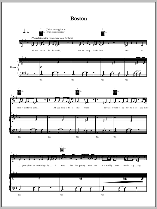 The Dresden Dolls Boston sheet music notes and chords. Download Printable PDF.