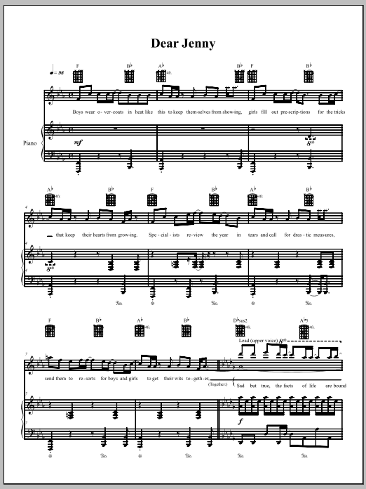 The Dresden Dolls Dear Jenny sheet music notes and chords. Download Printable PDF.