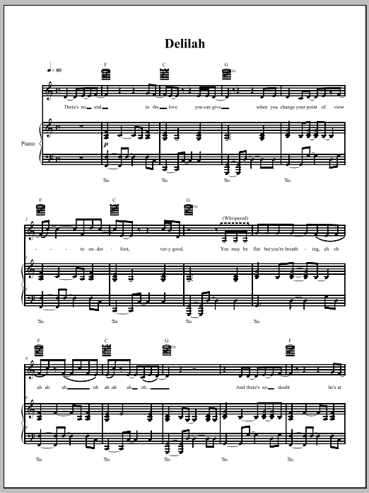 The Dresden Dolls Delilah sheet music notes and chords. Download Printable PDF.