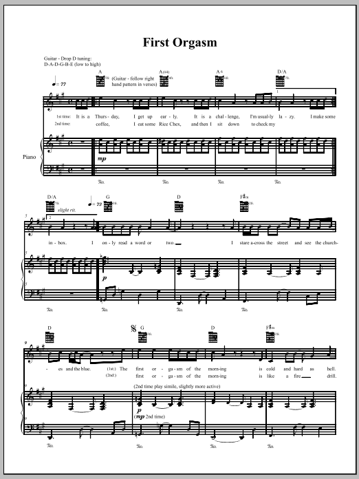 The Dresden Dolls First Orgasm sheet music notes and chords. Download Printable PDF.