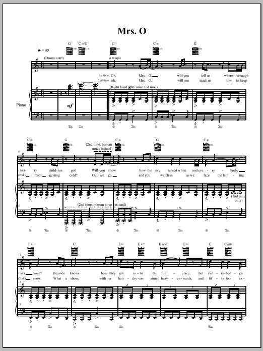 The Dresden Dolls Mrs. O sheet music notes and chords. Download Printable PDF.