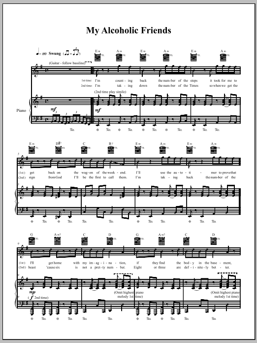 The Dresden Dolls My Alcoholic Friends sheet music notes and chords. Download Printable PDF.