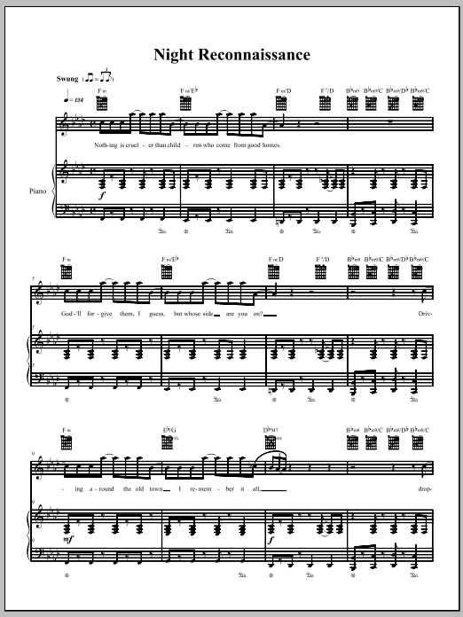 The Dresden Dolls Night Reconnaissance sheet music notes and chords. Download Printable PDF.