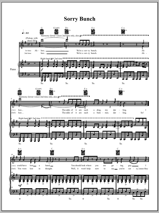The Dresden Dolls Sorry Bunch sheet music notes and chords. Download Printable PDF.
