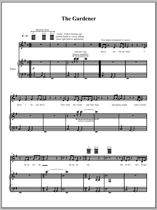 The Dresden Dolls The Gardener sheet music notes and chords. Download Printable PDF.
