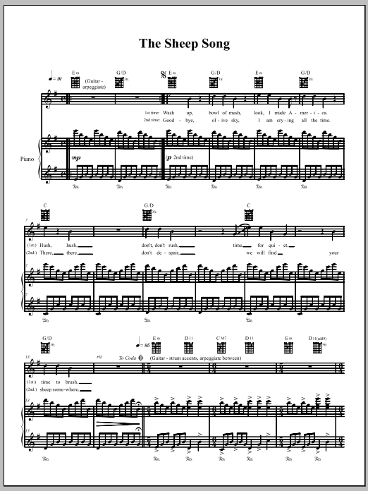 The Dresden Dolls The Sheep Song sheet music notes and chords. Download Printable PDF.
