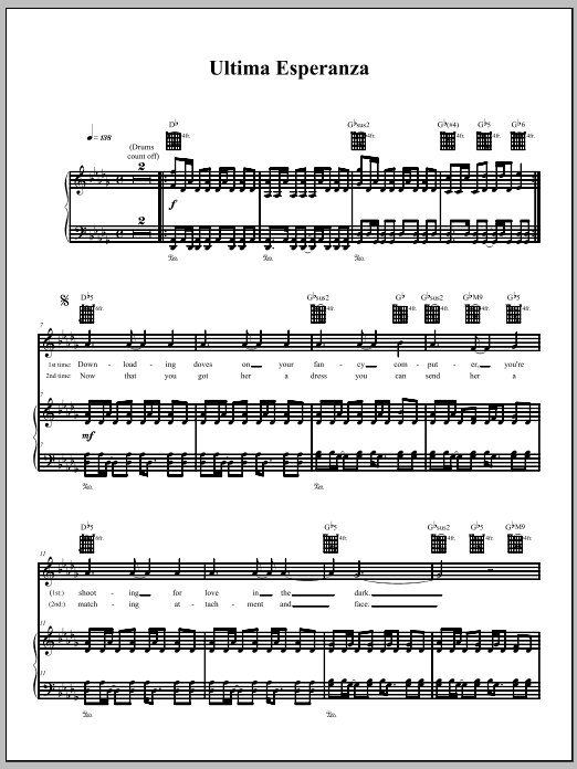 The Dresden Dolls Ultima Esperanza sheet music notes and chords. Download Printable PDF.