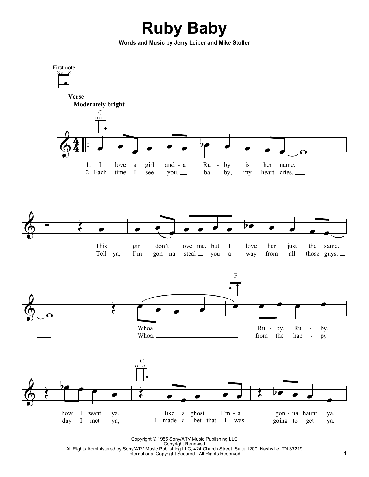The Drifters Ruby Baby sheet music notes and chords. Download Printable PDF.