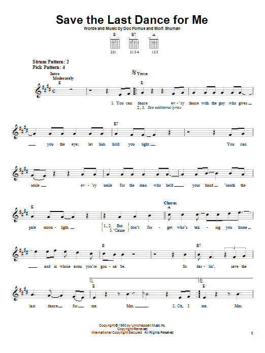 The Drifters Save The Last Dance For Me sheet music notes and chords. Download Printable PDF.