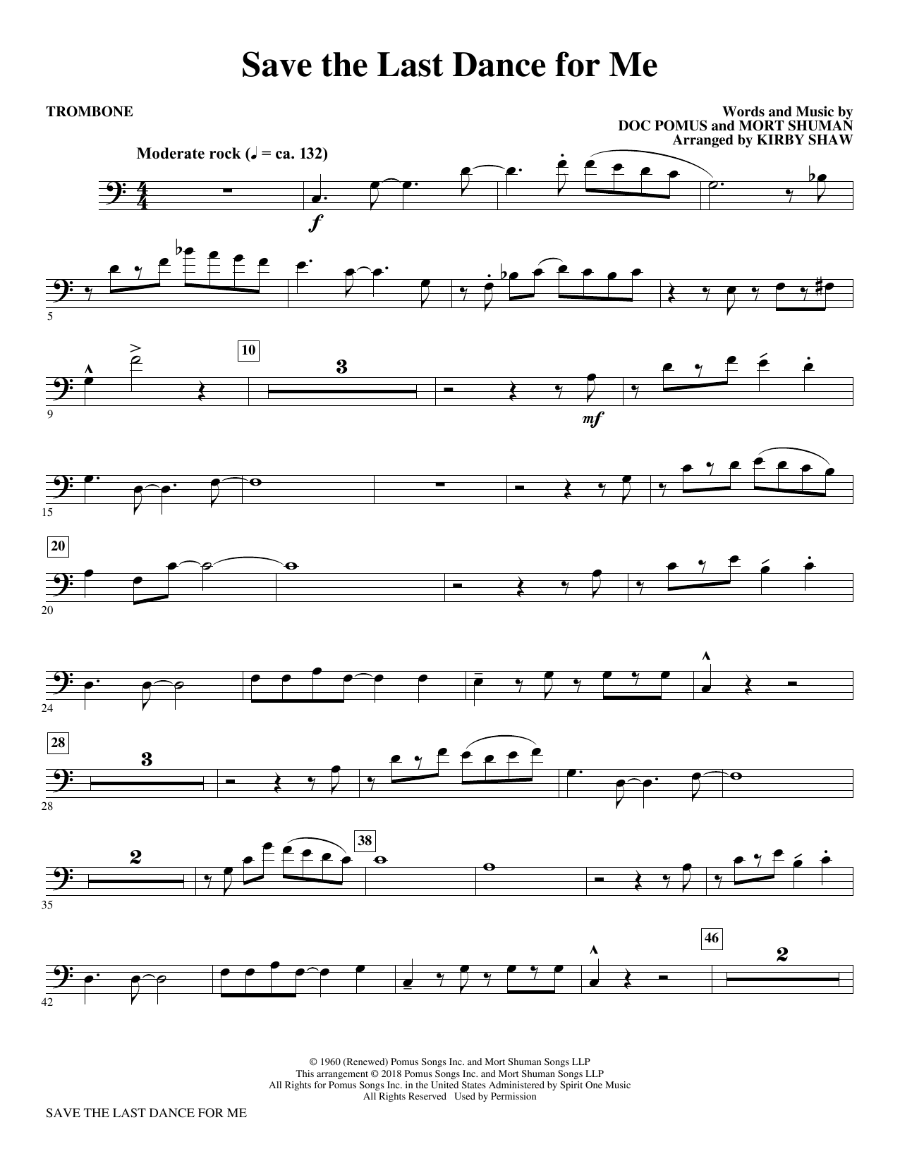 The Drifters Save The Last Dance For Me Arr Kirby Shaw Trombone Sheet Music Pdf Notes Chords Love Score Choir Instrumental Pak Download Printable Sku 379910
