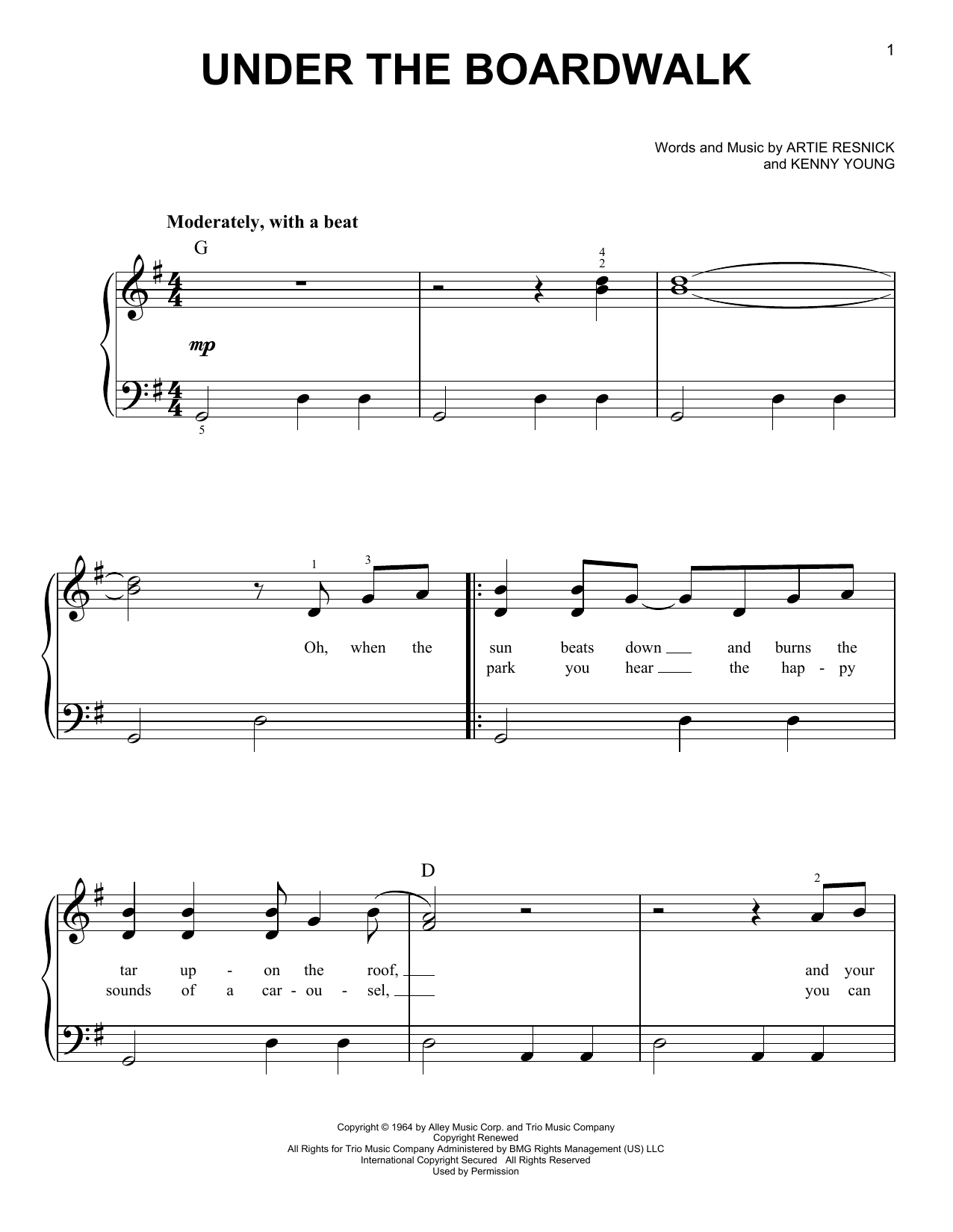 The Drifters Under The Boardwalk sheet music notes and chords. Download Printable PDF.
