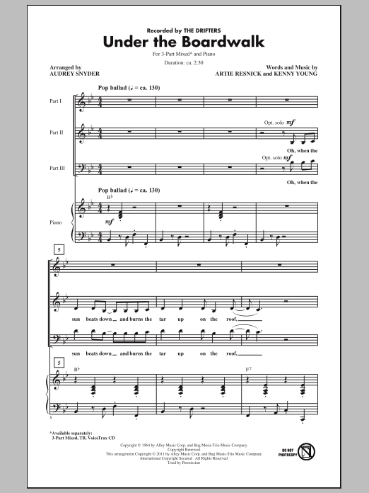 The Drifters Under The Boardwalk (arr. Audrey Snyder) sheet music notes and chords. Download Printable PDF.