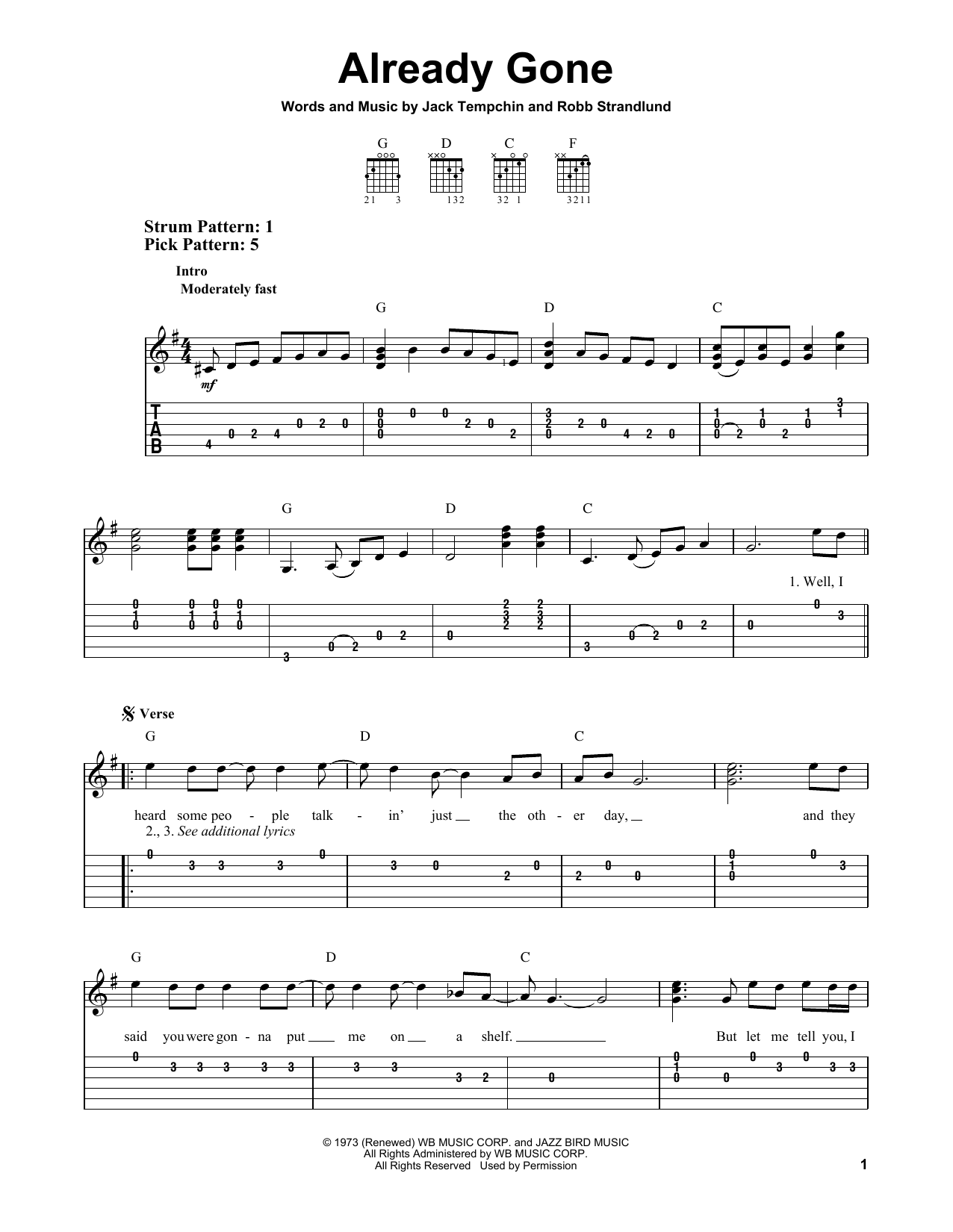 Eagles Already Gone sheet music notes and chords. Download Printable PDF.
