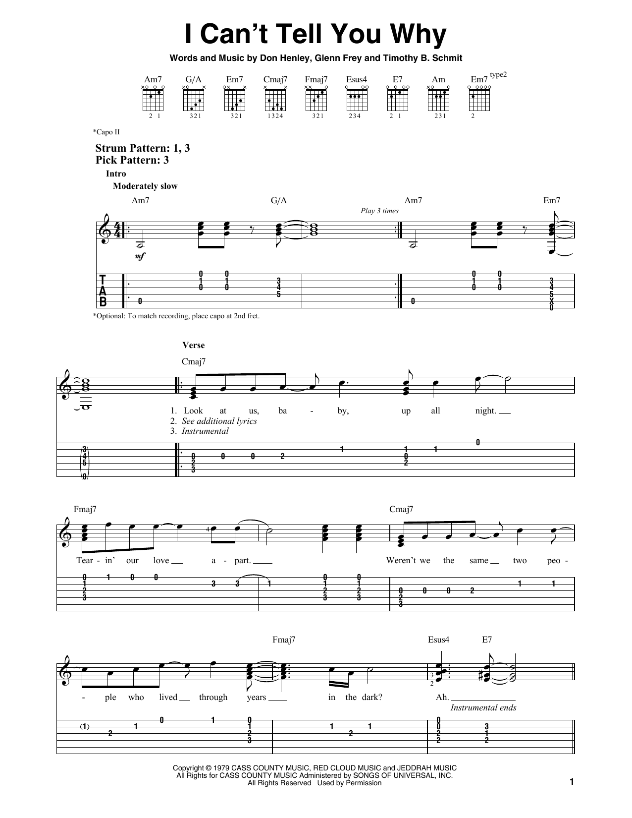 The Eagles I Can't Tell You Why sheet music notes and chords