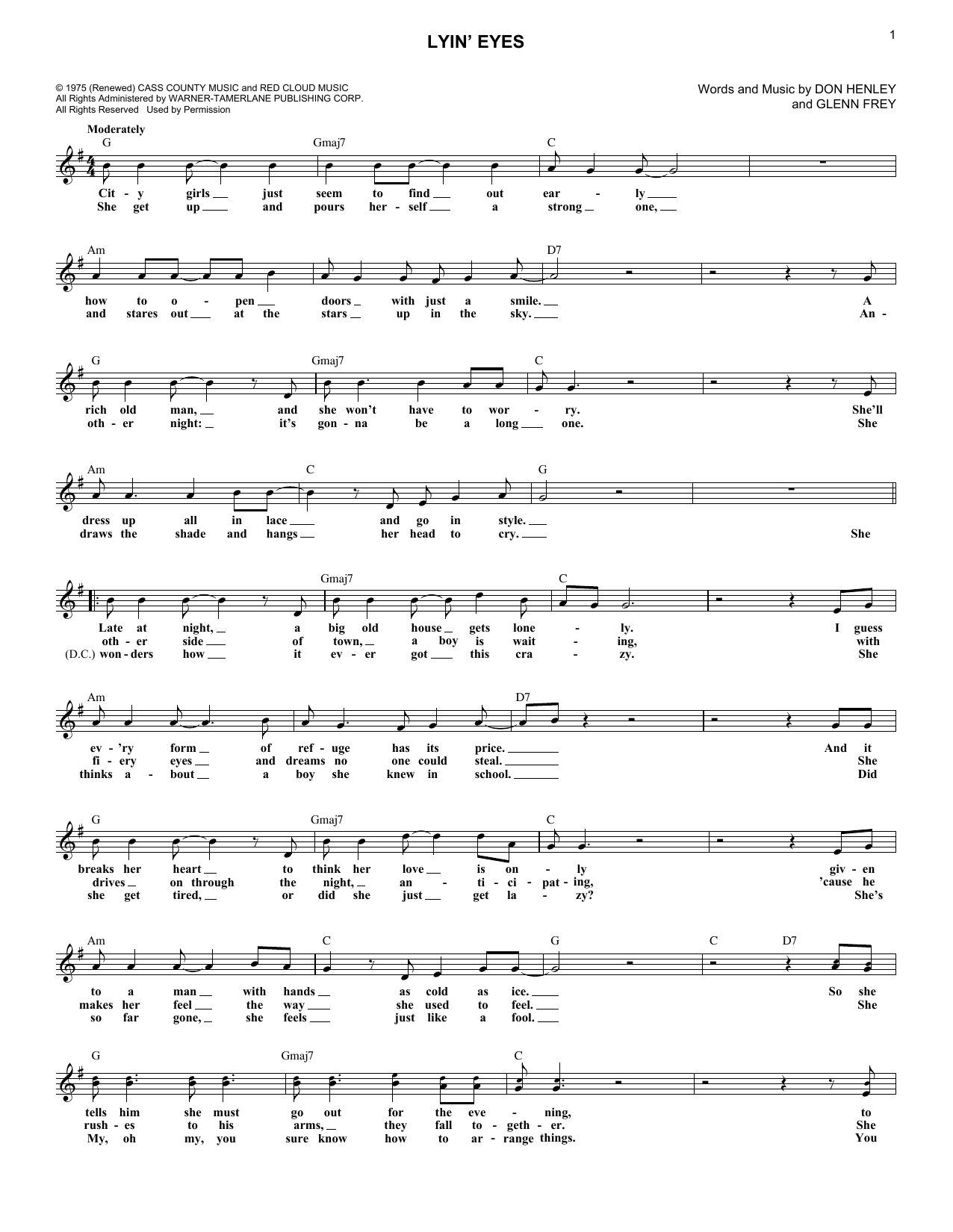 The Eagles Lyin' Eyes sheet music notes and chords