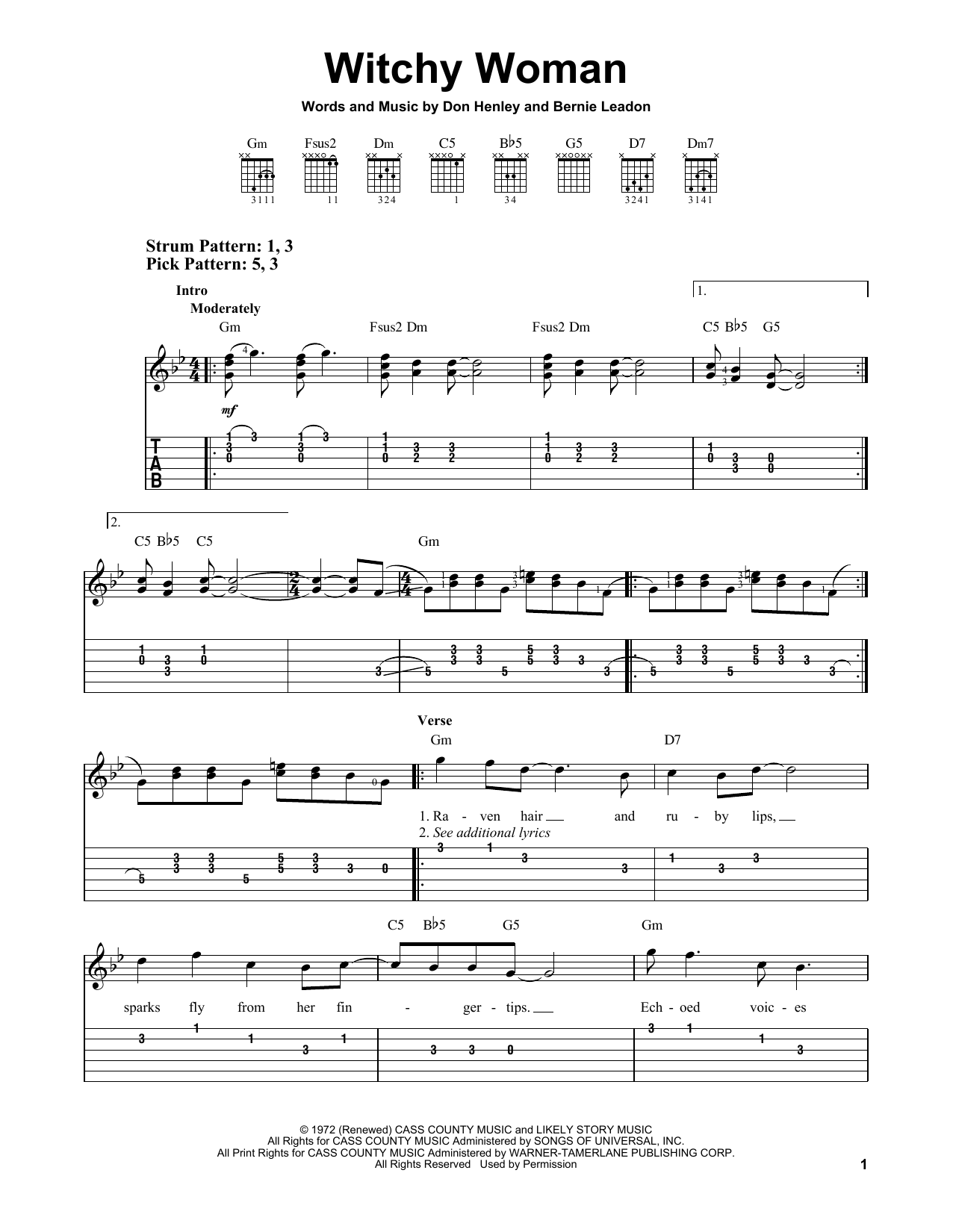 The Eagles Witchy Woman sheet music notes and chords