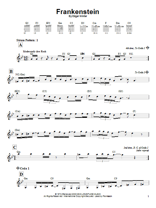 The Edgar Winter Group Frankenstein sheet music notes and chords