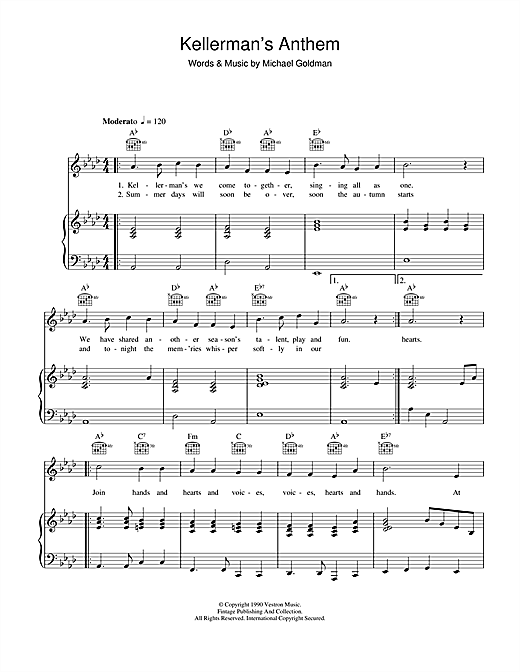The Emile Bergstein Chorale Kellerman's Anthem (from Dirty Dancing) sheet music notes and chords. Download Printable PDF.