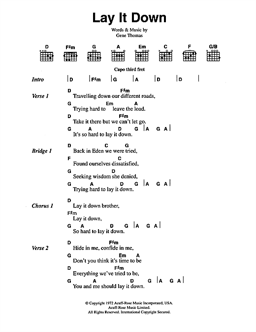 The Everly Brothers Lay It Down sheet music notes and chords. Download Printable PDF.