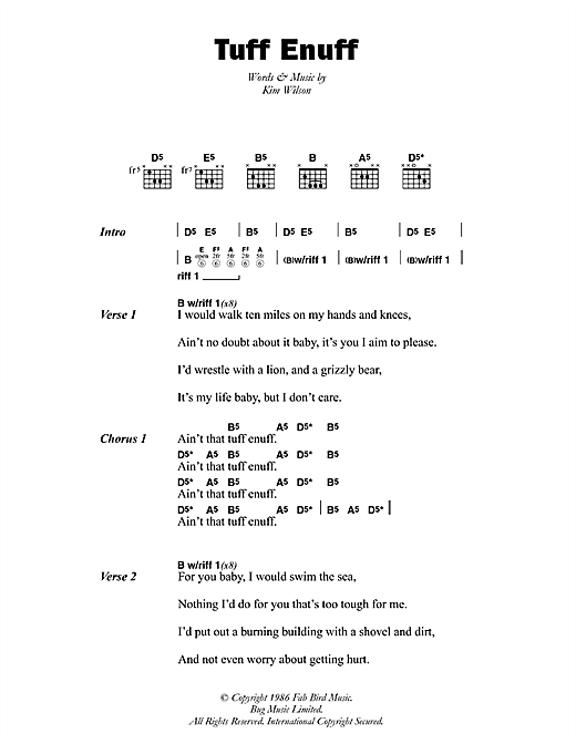 The Fabulous Thunderbirds Tuff Enuff sheet music notes and chords. Download Printable PDF.