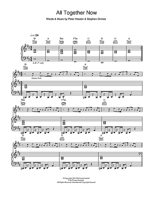 The Farm All Together Now sheet music notes and chords. Download Printable PDF.