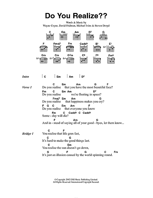 The Flaming Lips Do You Realize?? sheet music notes and chords. Download Printable PDF.