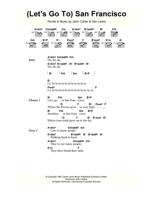 The Flower Pot Men (Let's Go To) San Francisco sheet music notes and chords. Download Printable PDF.