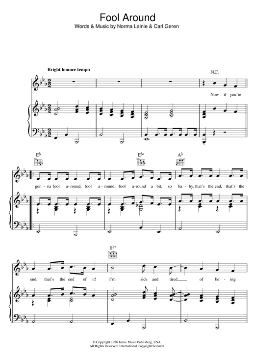 The Fontane Sisters Fool Around sheet music notes and chords. Download Printable PDF.