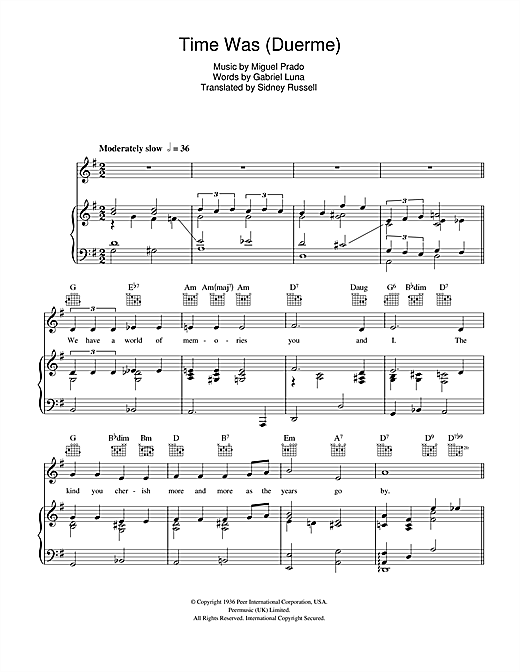 The Four Freshmen Time Was (Duerme) sheet music notes and chords. Download Printable PDF.