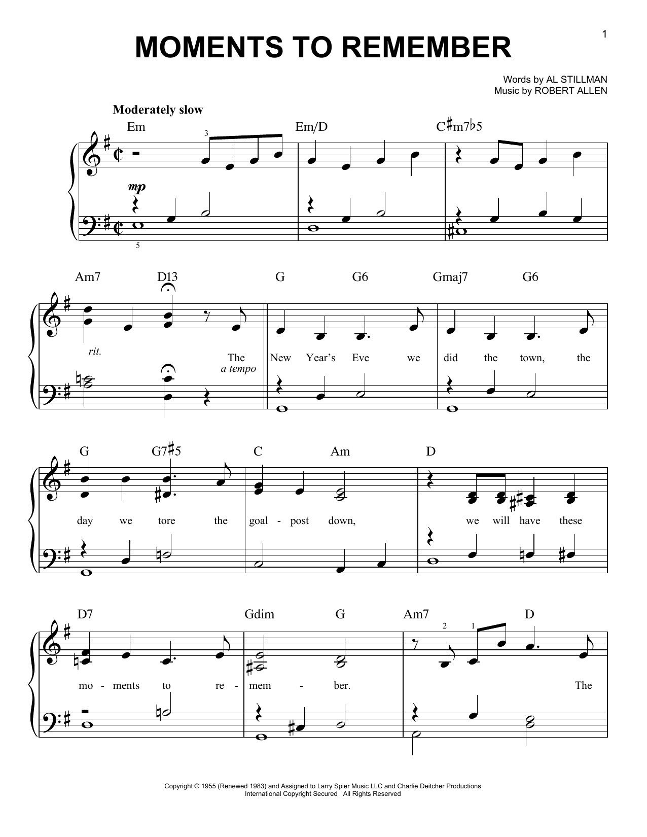 The Four Lads Moments To Remember sheet music notes and chords. Download Printable PDF.