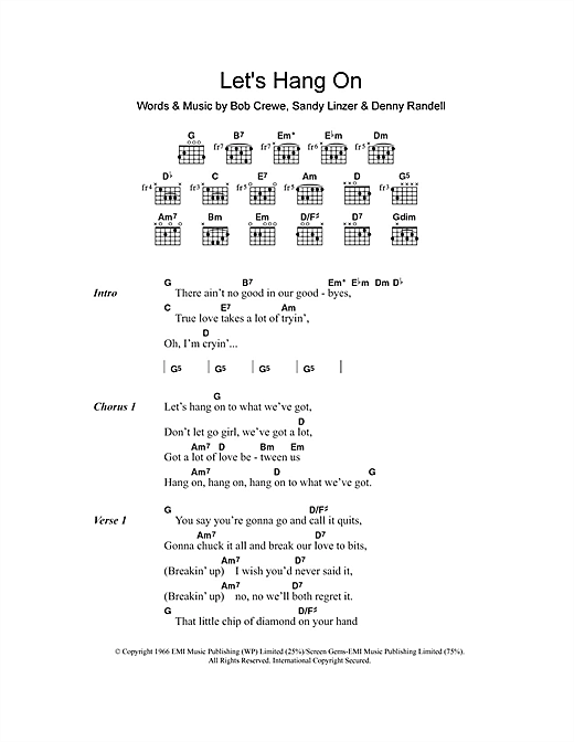 The Four Seasons Let's Hang On sheet music notes and chords. Download Printable PDF.