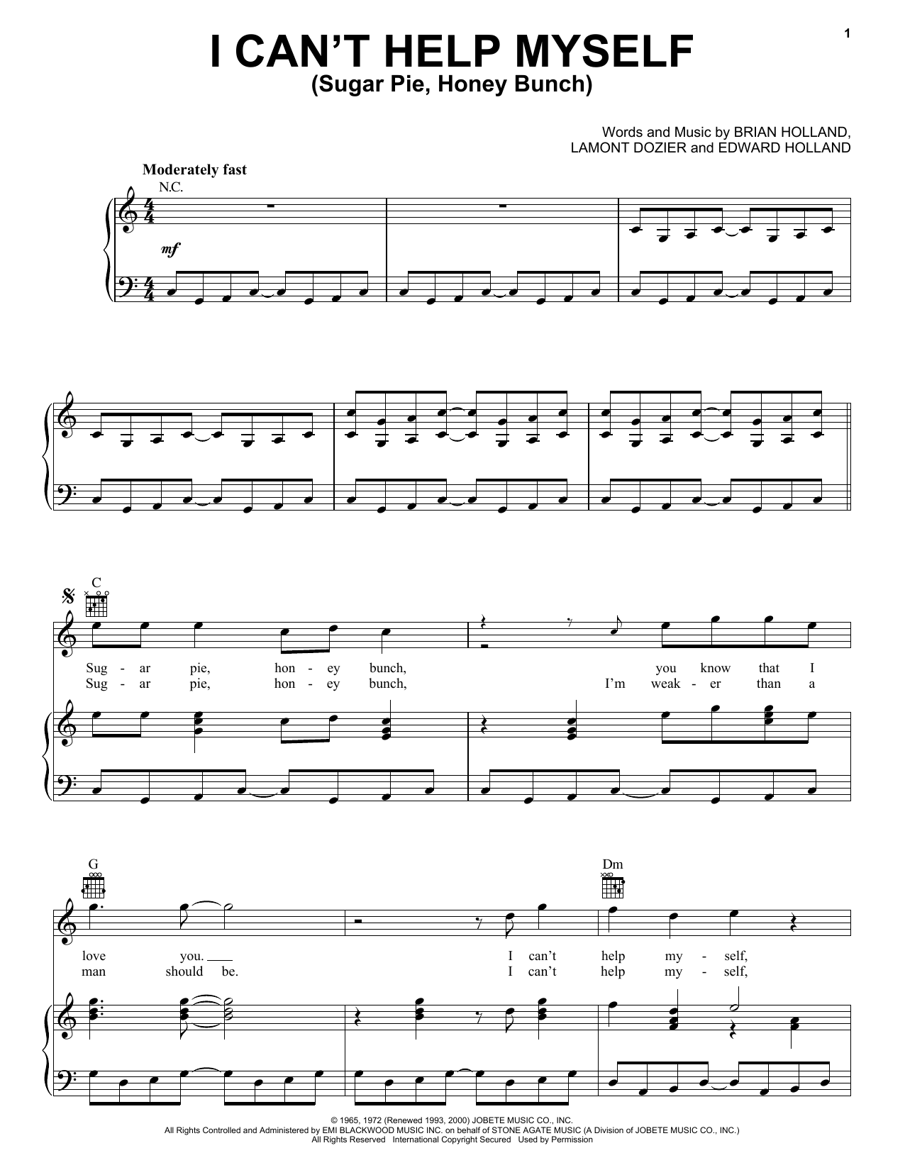 The Four Tops I Can't Help Myself (Sugar Pie, Honey Bunch) sheet music notes and chords. Download Printable PDF.