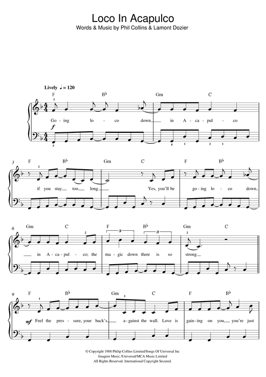 The Four Tops Loco In Acapulco sheet music notes and chords. Download Printable PDF.