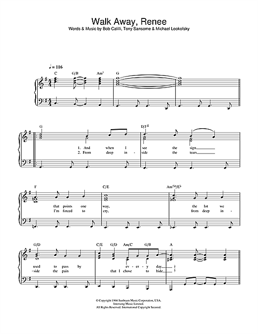 The Four Tops Walk Away, Renee sheet music notes and chords. Download Printable PDF.