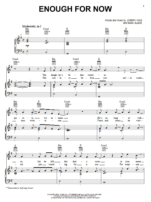The Fray 'Enough For Now' Sheet Music Notes, Chords | Download Printable  Piano, Vocal & Guitar (Right-Hand Melody) - SKU: 70545