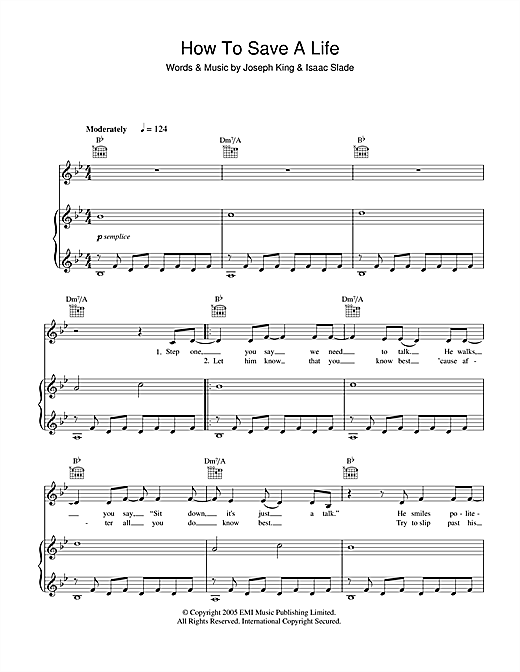 The Fray How To Save A Life sheet music notes and chords