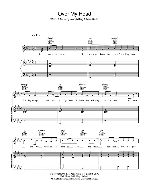 The Fray Over My Head (Cable Car) sheet music notes and chords