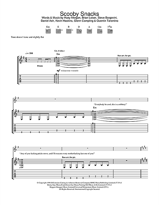 The Fun Lovin' Criminals Scooby Snacks sheet music notes and chords