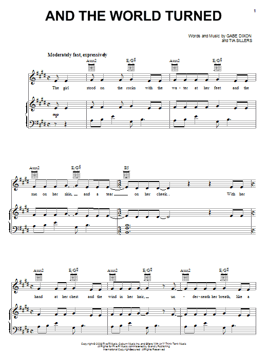 The Gabe Dixon Band And The World Turned sheet music notes and chords. Download Printable PDF.