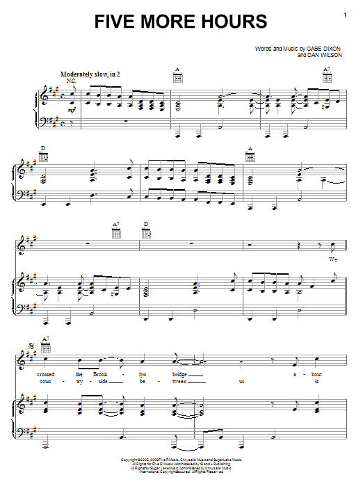 The Gabe Dixon Band Five More Hours sheet music notes and chords. Download Printable PDF.
