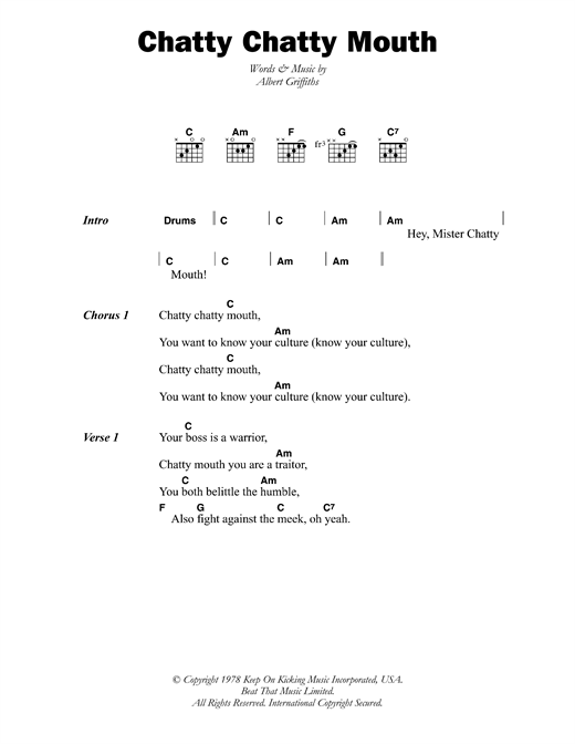 The Gladiators Chatty Chatty Mouth sheet music notes and chords. Download Printable PDF.