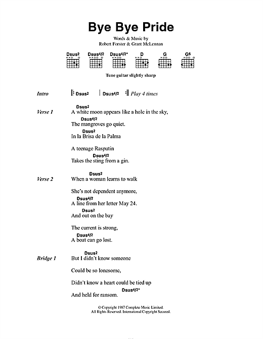 The Go-Betweens Bye Bye Pride sheet music notes and chords. Download Printable PDF.