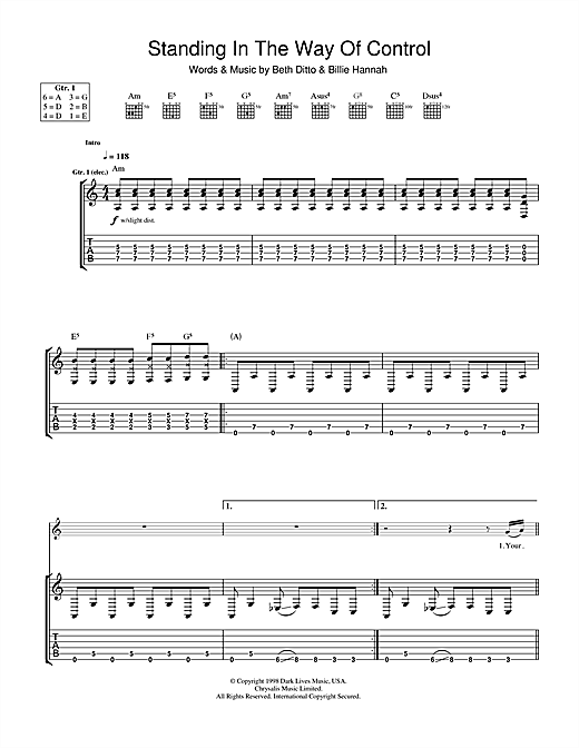 The Gossip Standing In The Way Of Control sheet music notes and chords. Download Printable PDF.