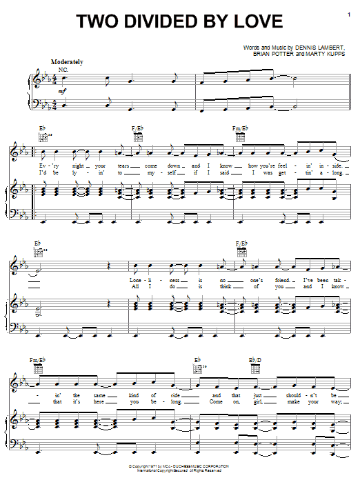 The Grass Roots Two Divided By Love sheet music notes and chords. Download Printable PDF.