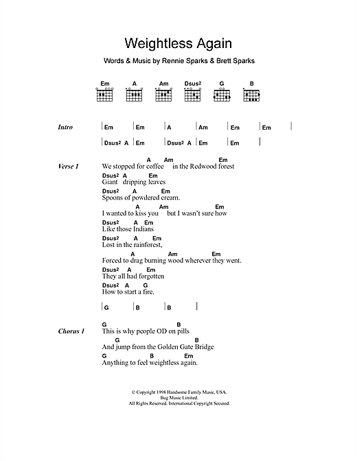The Handsome Family Weightless Again sheet music notes and chords. Download Printable PDF.