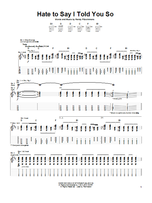 The Hives Hate To Say I Told You So sheet music notes and chords. Download Printable PDF.
